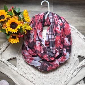 H&M Infinity Scarf Brown Floral and Plaid Pattern